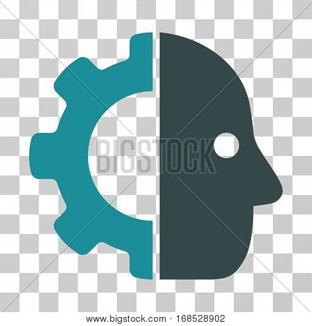 Cyborg icon. Vector illustration style is flat iconic bicolor symbol, soft blue colors, transparent background. Designed for web and software interfaces.