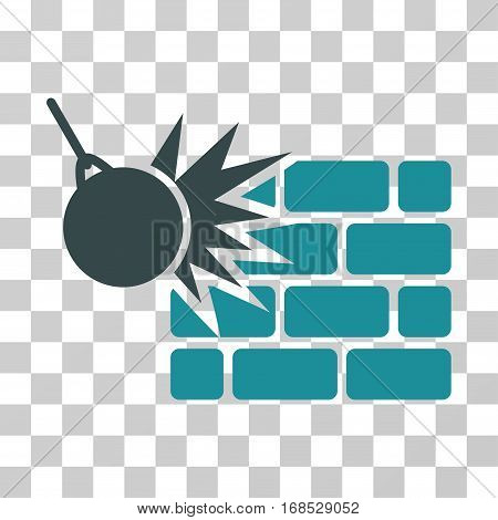 Destruction icon. Vector illustration style is flat iconic bicolor symbol, soft blue colors, transparent background. Designed for web and software interfaces.