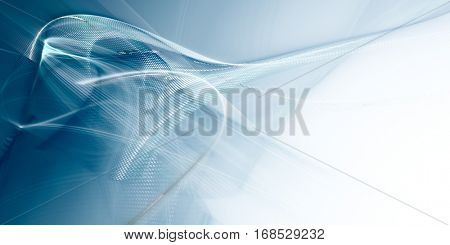 Abstract background element.Three-dimensional composition of curves and mosaic halftone effects. Technology, science or education concept.  Blue and white colors.