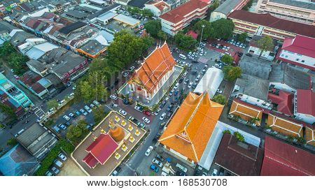Aerial Photography During Sunset In The Middle Of Phuket City