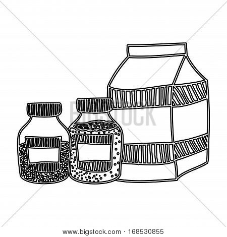 silhouette box milk with bottles salt and pepper vector illustration