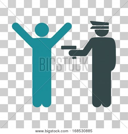 Police Arrest icon. Vector illustration style is flat iconic bicolor symbol, soft blue colors, transparent background. Designed for web and software interfaces.