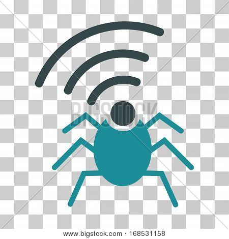 Radio Spy Bug icon. Vector illustration style is flat iconic bicolor symbol, soft blue colors, transparent background. Designed for web and software interfaces.