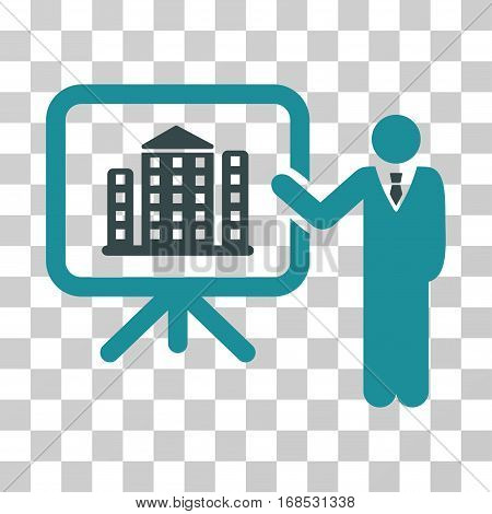 Realty Presention icon. Vector illustration style is flat iconic bicolor symbol, soft blue colors, transparent background. Designed for web and software interfaces.