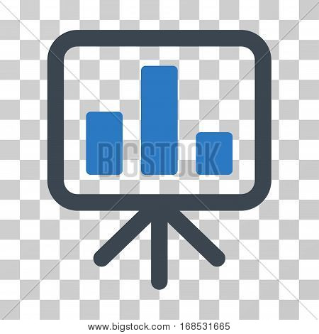 Bar Chart Display icon. Vector illustration style is flat iconic bicolor symbol, smooth blue colors, transparent background. Designed for web and software interfaces.