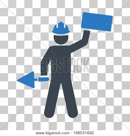 Builder With Brick icon. Vector illustration style is flat iconic bicolor symbol, smooth blue colors, transparent background. Designed for web and software interfaces.