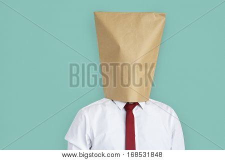 Man Paper Bag Cover Face Ashamed Portrait Concept