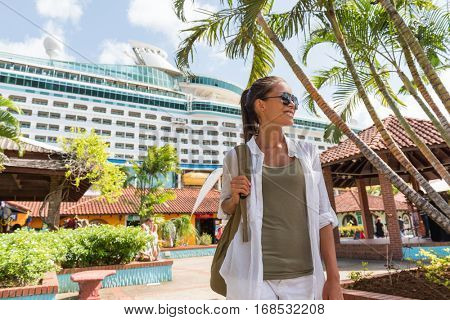 Cruise boat tourist at port of call in duty-free shopping stores at harbor docks. Happy woman buying souvenirs in local shops. Outdoor market at Castries, Pointe Seraphine, St-Lucia..