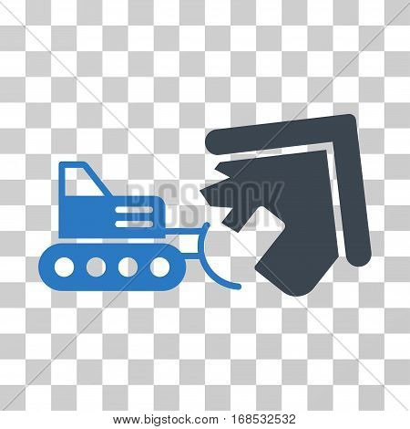 Demolition icon. Vector illustration style is flat iconic bicolor symbol, smooth blue colors, transparent background. Designed for web and software interfaces.