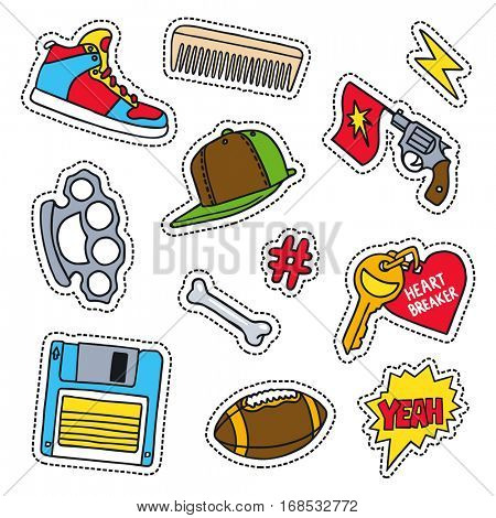 Set of masculine sketchy patches. Different trendy badges and pins. Oldschool vector pictograms in line-art style with 90's colors. Knuckle, gun, hat and sneaker icons.