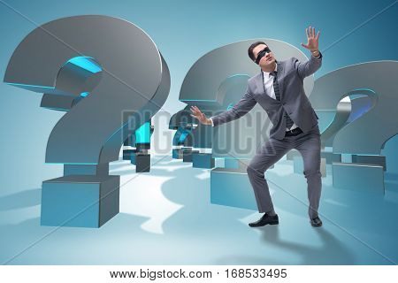 Blindfold businessman in incertainty concept