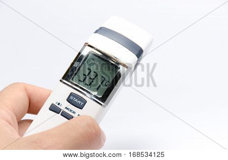 Digital infrared thermometer  instrument  medical on white