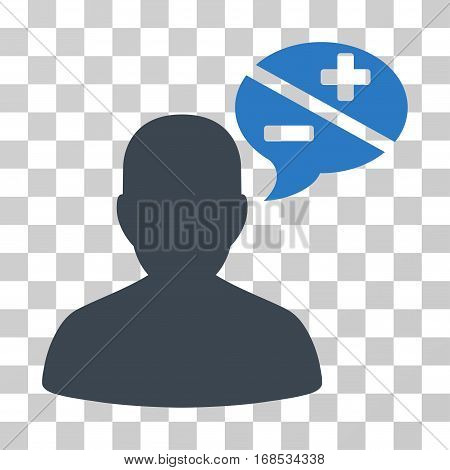 Person Arguments icon. Vector illustration style is flat iconic bicolor symbol, smooth blue colors, transparent background. Designed for web and software interfaces.