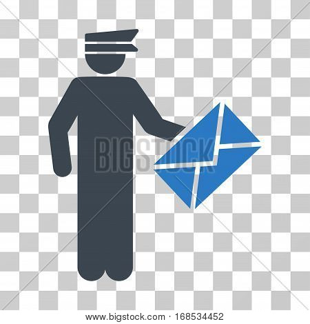 Postman icon. Vector illustration style is flat iconic bicolor symbol, smooth blue colors, transparent background. Designed for web and software interfaces.