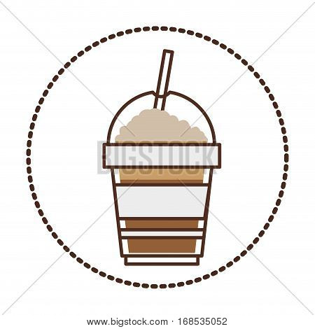 sticker circular shape with glass disposable of cappuccino with Skinny drinks vector illustration