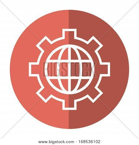 globe gear communicaton business leadership shadow vector illustration eps 10