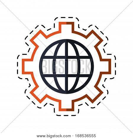 globe gear communicaton business leadership cut line vector illustration eps 10