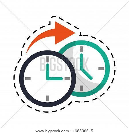 clock time arrow around cut line vector illustration eps 10