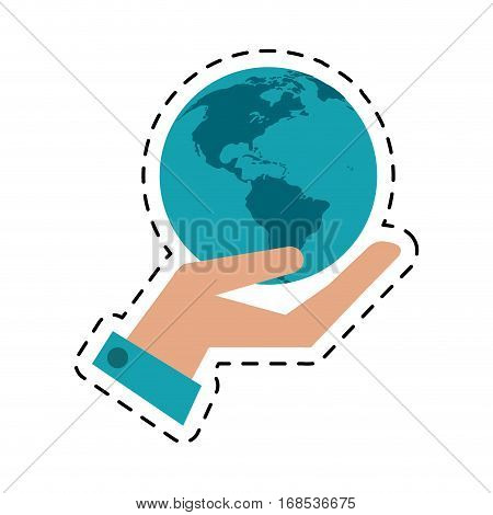 hand holding world concept communication cut line vector illustration esp 10