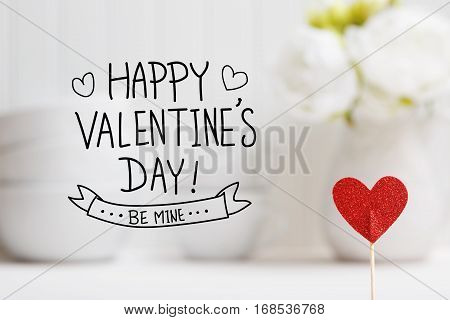 Valentines Day Message With Small Red Heart