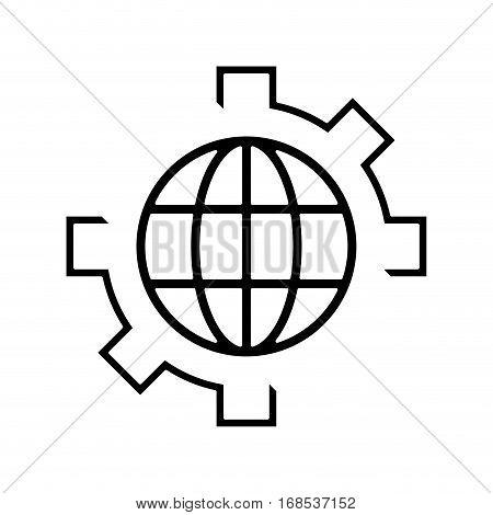 globe gear communicaton business leadership pictogram vector illustration eps 10