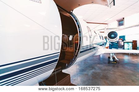 Private Jet In A Hangar