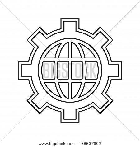 globe gear communicaton business leadership thin line vector illustration eps 10