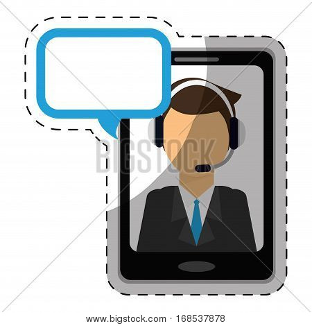 call center telemarketing tech service worker wearing headset on cellphone screen  icon image vector illustration design