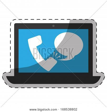 phone call with computer digital telecommunication icon image vector illustration design