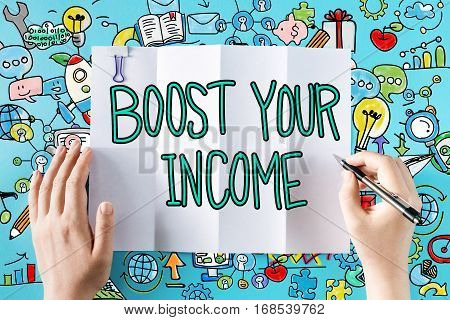 Boost Your Income Text With Hands