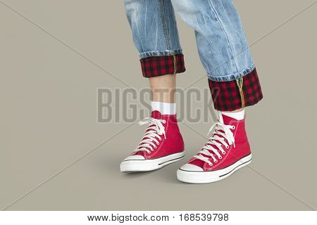 Red Sneakers Jeans Studio Concept