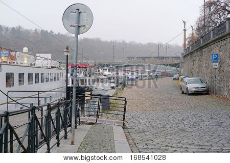 Prague, Czechia - November, 21, 2016: bank of Vitava river in Prague, Czechia