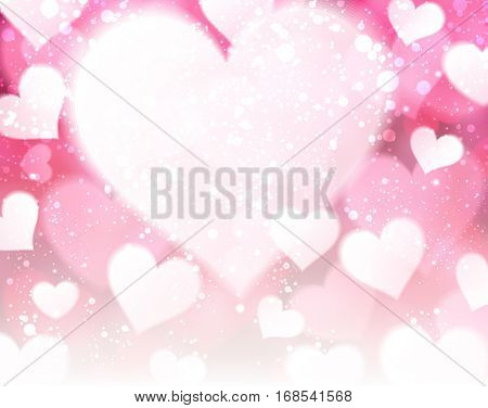 Love valentine's pink background with hearts. Vector illustration.