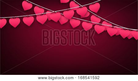 Pink love valentine's banner with garland of hearts. Vector illustration.