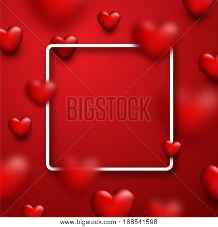 Valentine's square red love background with 3d hearts. Vector illustration.