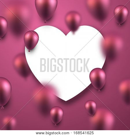 Valentine's pink love background with 3d balloons. Vector illustration.