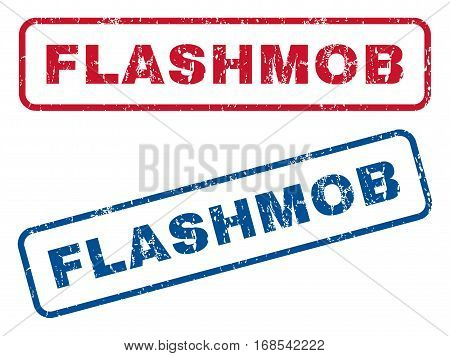 Flashmob text rubber seal stamp watermarks. Vector style is blue and red ink caption inside rounded rectangular banner. Grunge design and dirty texture. Blue and red signs.