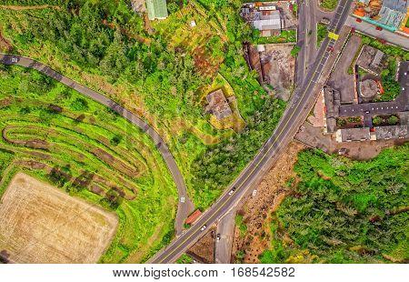 Street Aerial View Of Banos De Agua Santa Tungurahua Province South America