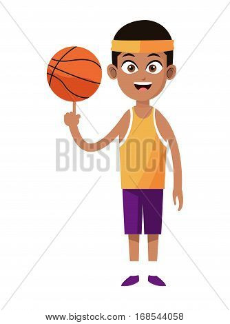 afroamerican man player basketball with uniform headband vector illustration eps 10