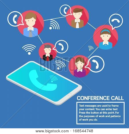 Vector design smartphone conference call business team