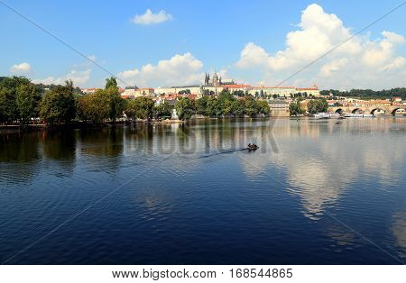 City of Prague - View of Lesser Town (Malá Strana), St. Vitus Cathedral, and Charles Bridge. Photographed from Legion Bridge looking northwest across the Vltava River.