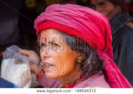 An Old Woman In Badrinath, North India.