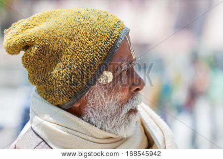 An Old Hindu Pilgrim In Badrinath, North India