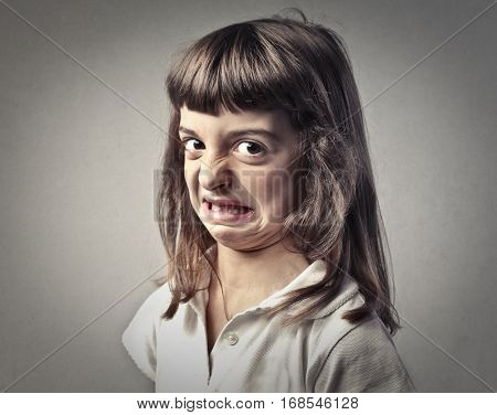 Disgusted child's portrait
