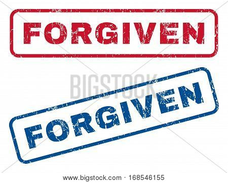 Forgiven text rubber seal stamp watermarks. Vector style is blue and red ink tag inside rounded rectangular shape. Grunge design and dust texture. Blue and red signs.