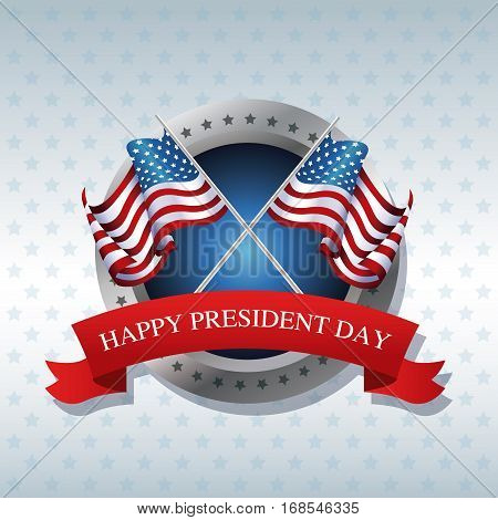 happy president day crossed flag american ribbon label vector illustration eps 10