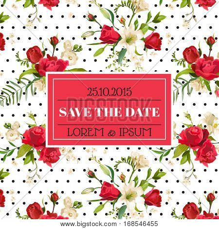 Save the Date Wedding Invitation or Congratulation Card. Vintage Rose and Lily Floral Theme in Vector