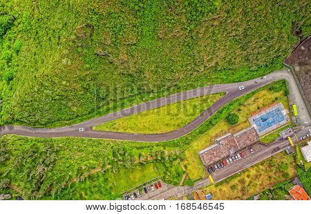 Small Touristic City In The Andean Highlands Seen From Above Banos De Agua Santa Tungurahua Province In The Daylight South America