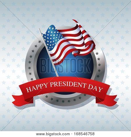 happy president day flag poll ribbon label vector illustration eps 10