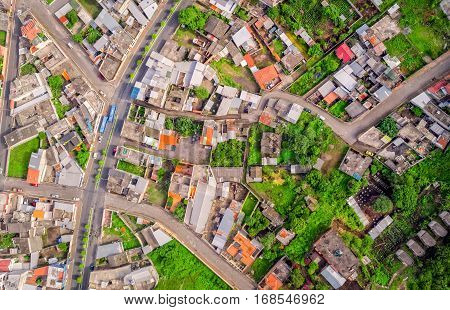 Urban Rooftops Aerial View In Banos De Agua Santa Tungurahua Province In The Daylight South America